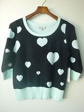 NWT (M) Remain Teal & Black Heart Print Sweater Shirt Top 3/4 Sleeve (In-47)