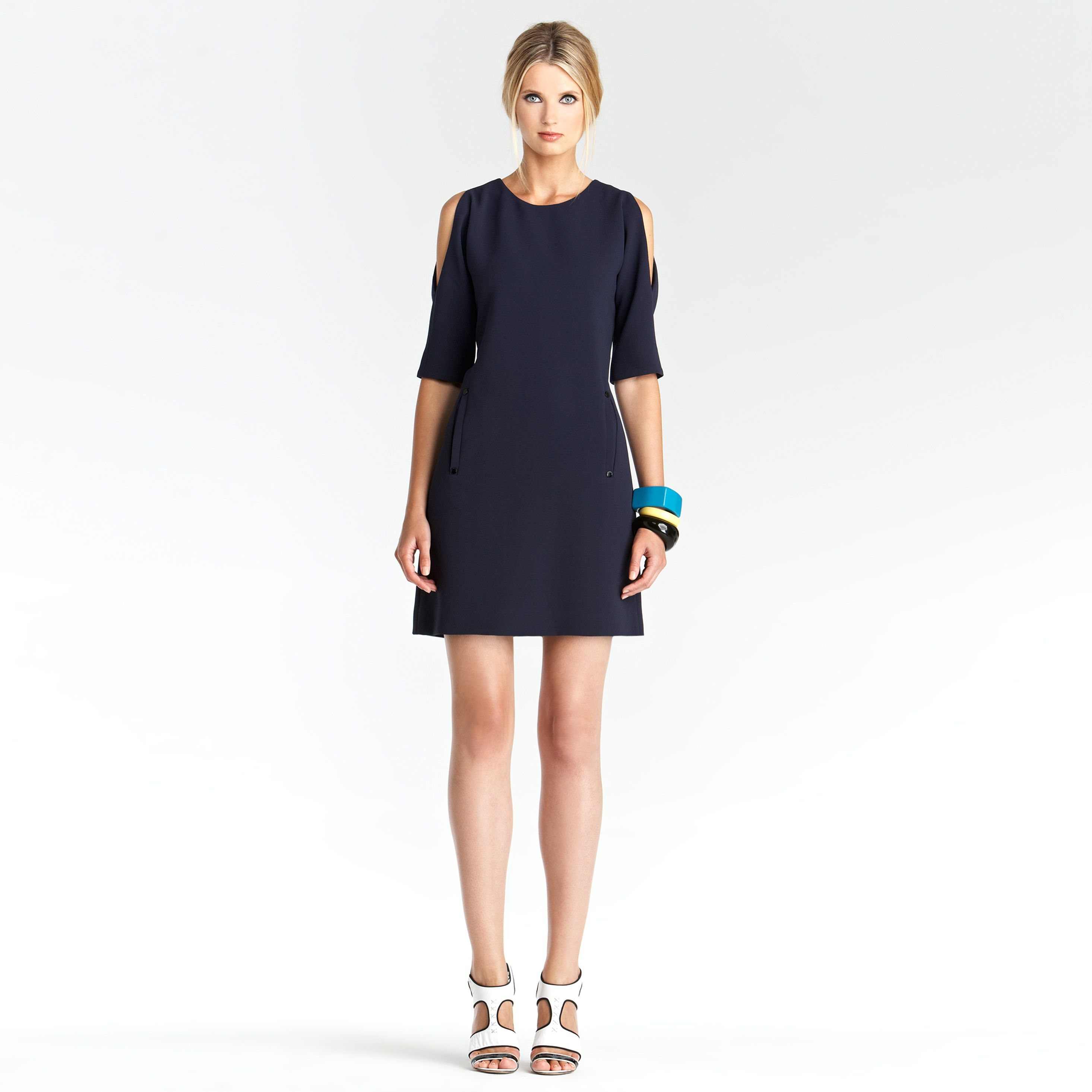 Crepe cut out shoulder dress - nice in navy