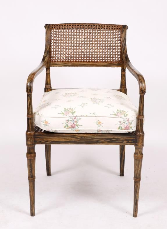 Mallams Fine Art Auctioneers (Abingdon) : A REGENCY PAINTED BEECH FRAMED OPEN ARMCHAIR with : Online Auction Catalogue