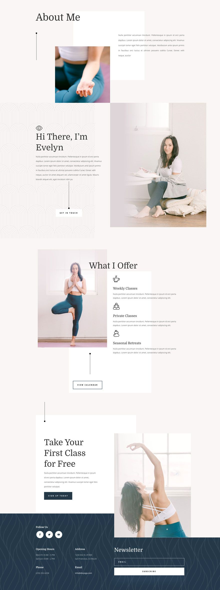 Get A Free Yoga Instructor Layout Pack For Divi In 2020 Yoga Web Yoga Websites Website Design Layout