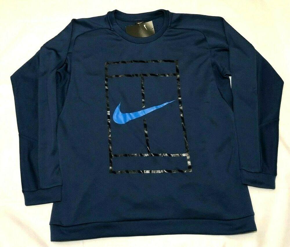 Nike Court Logo Tennis Crew Sweatshirt Mens Xl Coastal Blue 728995 423 Nike Activewearpullover In 2020 Mens Sweatshirts Sweatshirts Crew Sweatshirts [ 852 x 1000 Pixel ]