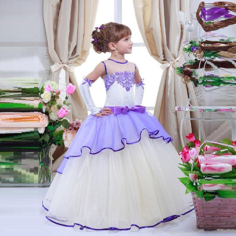 Pas Cher Jolie Fleur Fille Robes Pour Le Mariage Blanc Et Lavande Corset Sortes Enfants Kids Flower Girl Dresses Flower Girl Dresses Pretty Flower Girl Dresses
