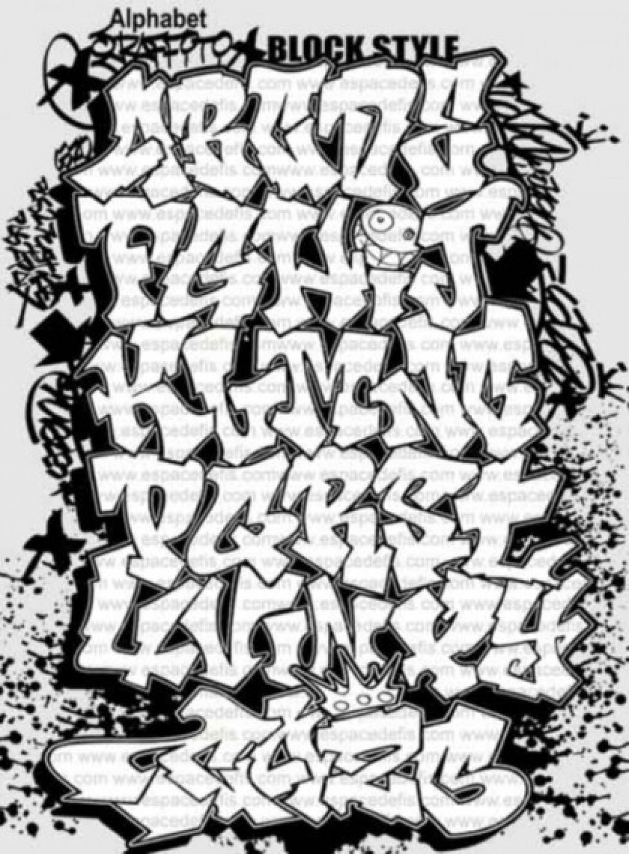 Old english calligraphy alphabet graffiti design art