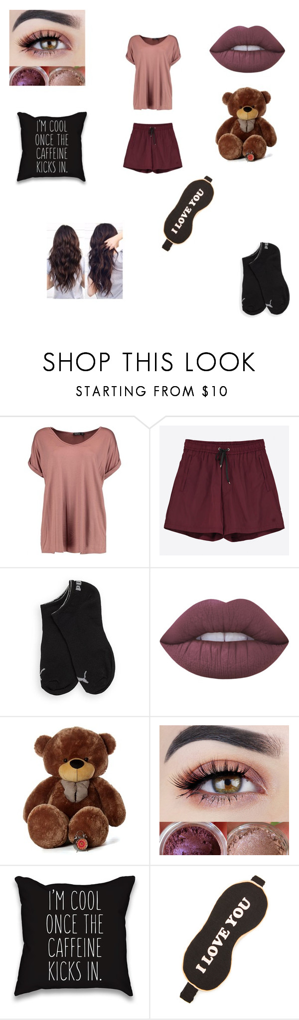 """""""Sleepover Again!"""" by skittles1738 ❤ liked on Polyvore featuring Boohoo, Wood Wood, Puma, Lime Crime and Wildfox"""