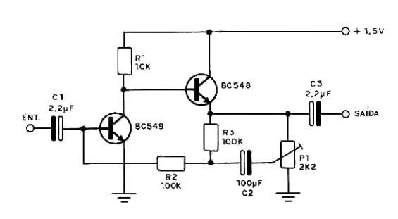 circuito amplificador de  u00c1udio alimentado por uma pilha