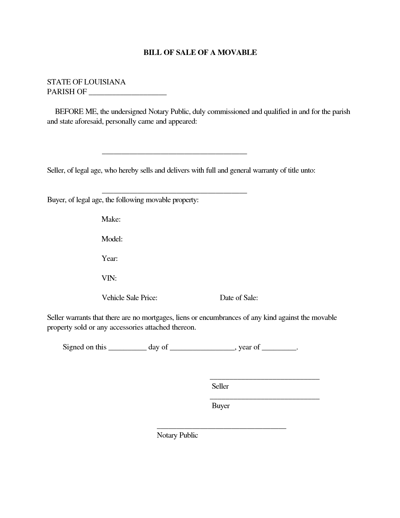 Printable Sample Champer Bill Of Sale Form  Free Legal Documents