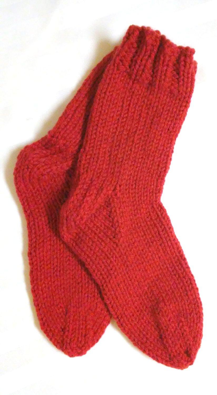 Men's Bed Socks. Knit Socks. Paprika. Rust Red. Knit