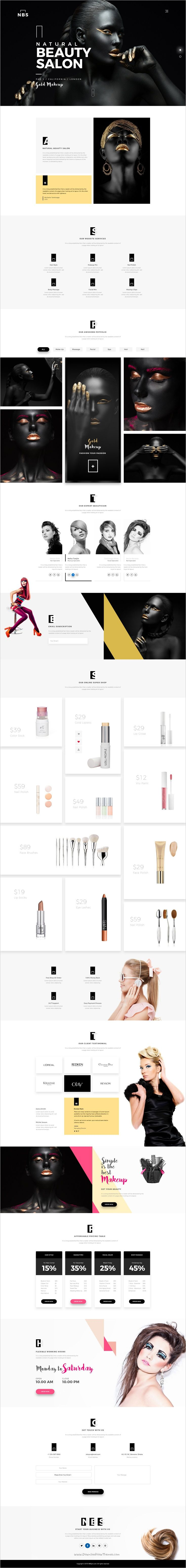 NBS is a Minimal #Onepage #PSD template for a beauty #Parlor or #salon shop website with modern look download now➩ https://themeforest.net/item/natural-beauty-salon/19207848?ref=Datasata