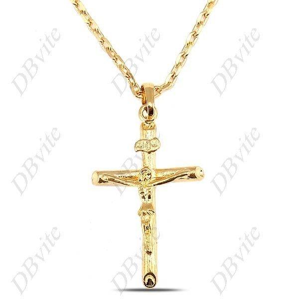 24k gold plating cross pendant necklace chain jewelry neck 24k gold plating cross pendant necklace chain jewelry neck decoration for male female men women naf aloadofball Images