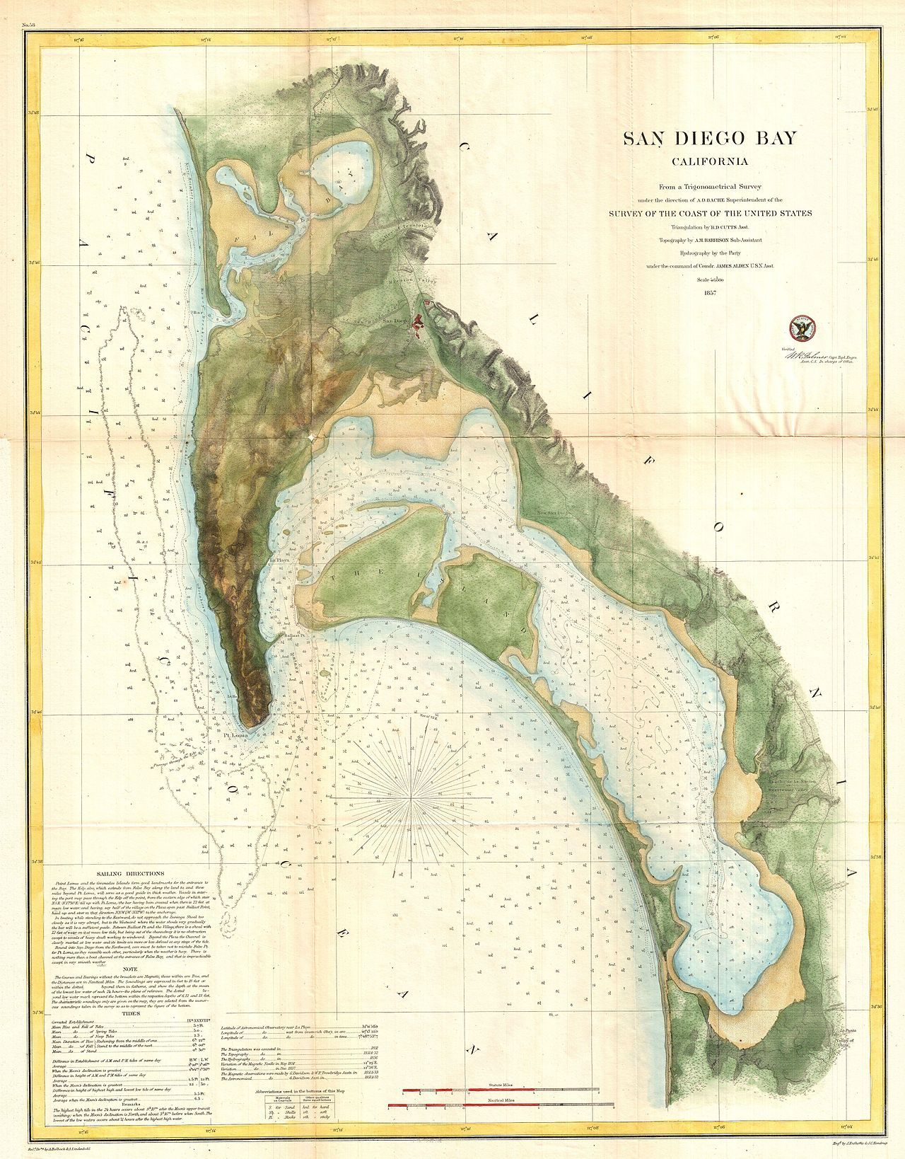 1857 U.S.C.S. Map of San Diego Bay, California - Geographicus ...