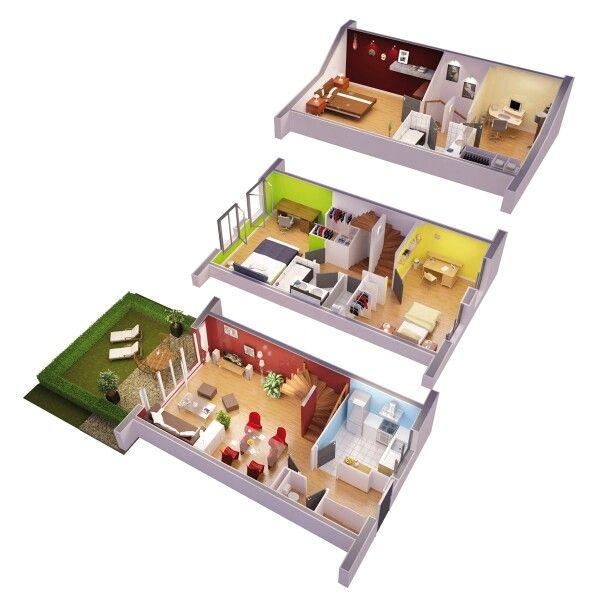 Casa 3 pisos Planos y Detalles Pinterest - logiciel gratuit de plan de maison 3d