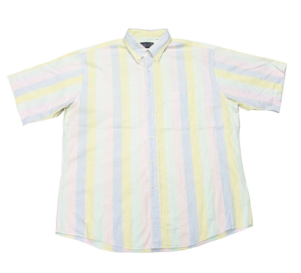 Vintage 90s Lands End Chambray Pastel Striped Button Down Shirt ...