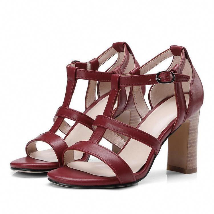 a73728b2310 Women s Open Toe Block High Heel Sandals Ankle Strap Platform Pump Chunky  Shoes-shoes-