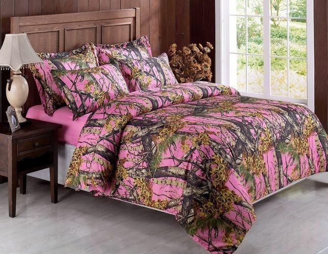 Queen Size Camo Bed Set Pink, Realtree Pink Camo Bedding Queen