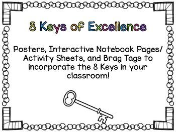 8 Keys Of Excellence Posters Inb Certificate And Brag Tag Brag Tags Interactive Notebooks Positive Psychology