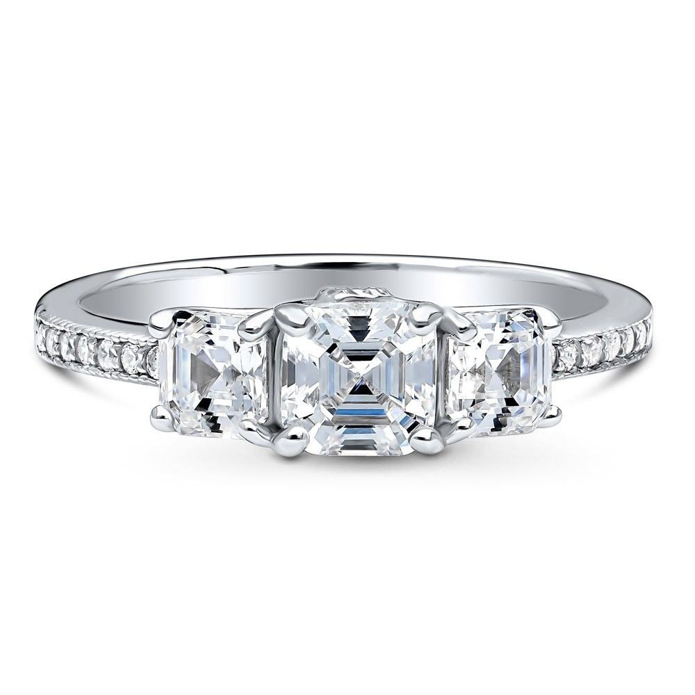 910cedc44fc71 Sterling Silver Asscher CZ 3-Stone Ring 1.59 CTW | Promise Rings | 3 ...