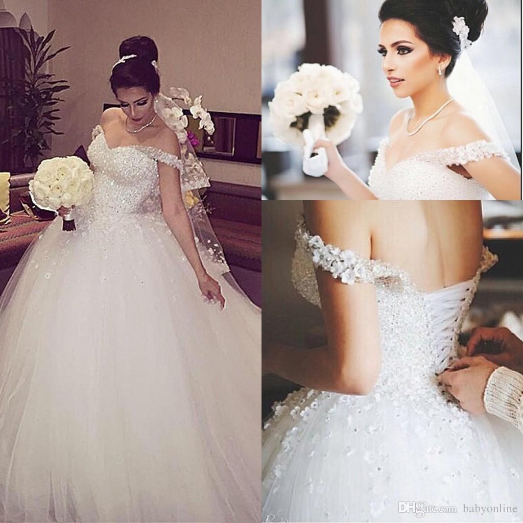 Cheap New Elegant Princess Wedding Dresses V Neck Ball Gown