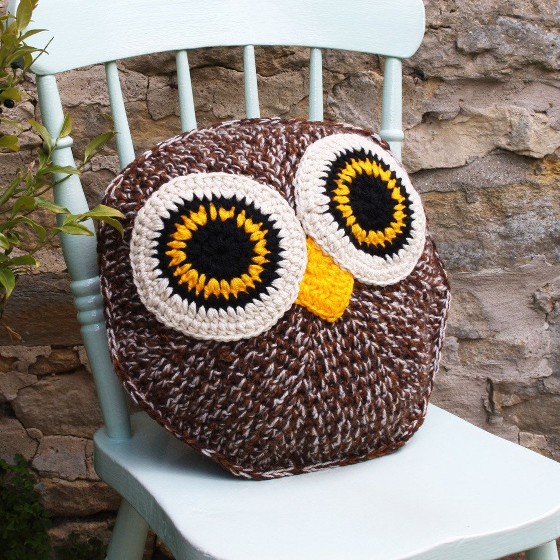 HOOTY owl pillow cushion cover PDF email crochet pattern | Pinterest