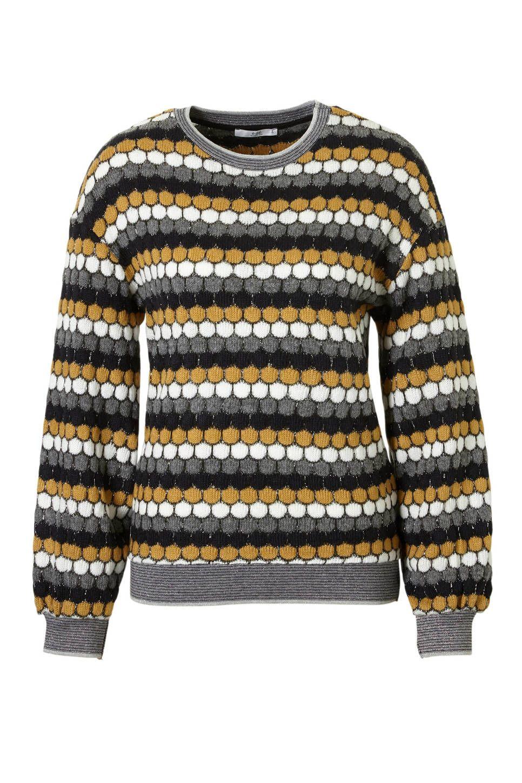 op voet schoten van superieure kwaliteit nieuwe release edc Women honingraat trui met glitter details, Grijs/geel ...