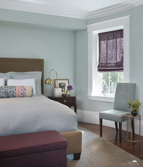 Soft and Calm Blue Wall Color Scheme and Brown Bedding Sets in – Blue Bedroom Color Schemes