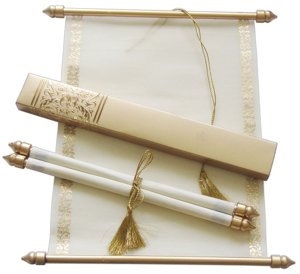 S865 Gold Color Shimmery Finish Paper Scroll Invitations Jewish Anniversary