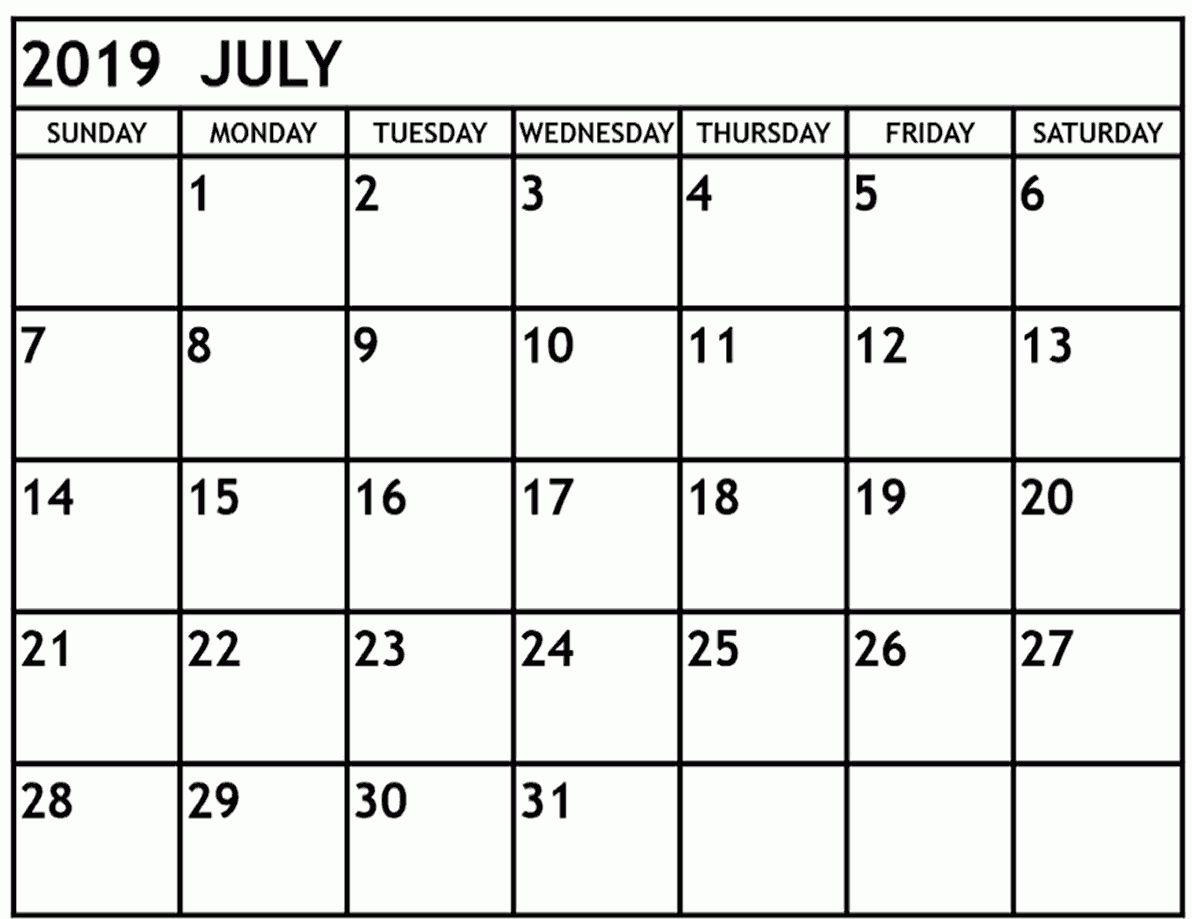 Get June And July Calendar 2019 Printable Together June Calendar