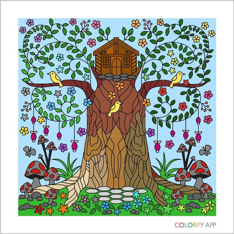 Color a beautiful garden using Colorfy - Online Coloring Book for ...