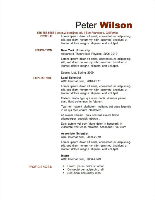 Resume Templates For Microsoft Word Free Download  Resume