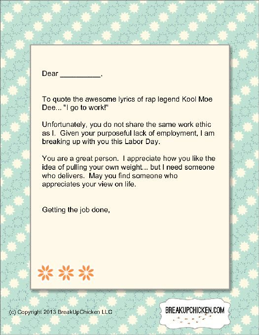 Labor Day Breakup Form Letter Help The Lazy Person In Your Life