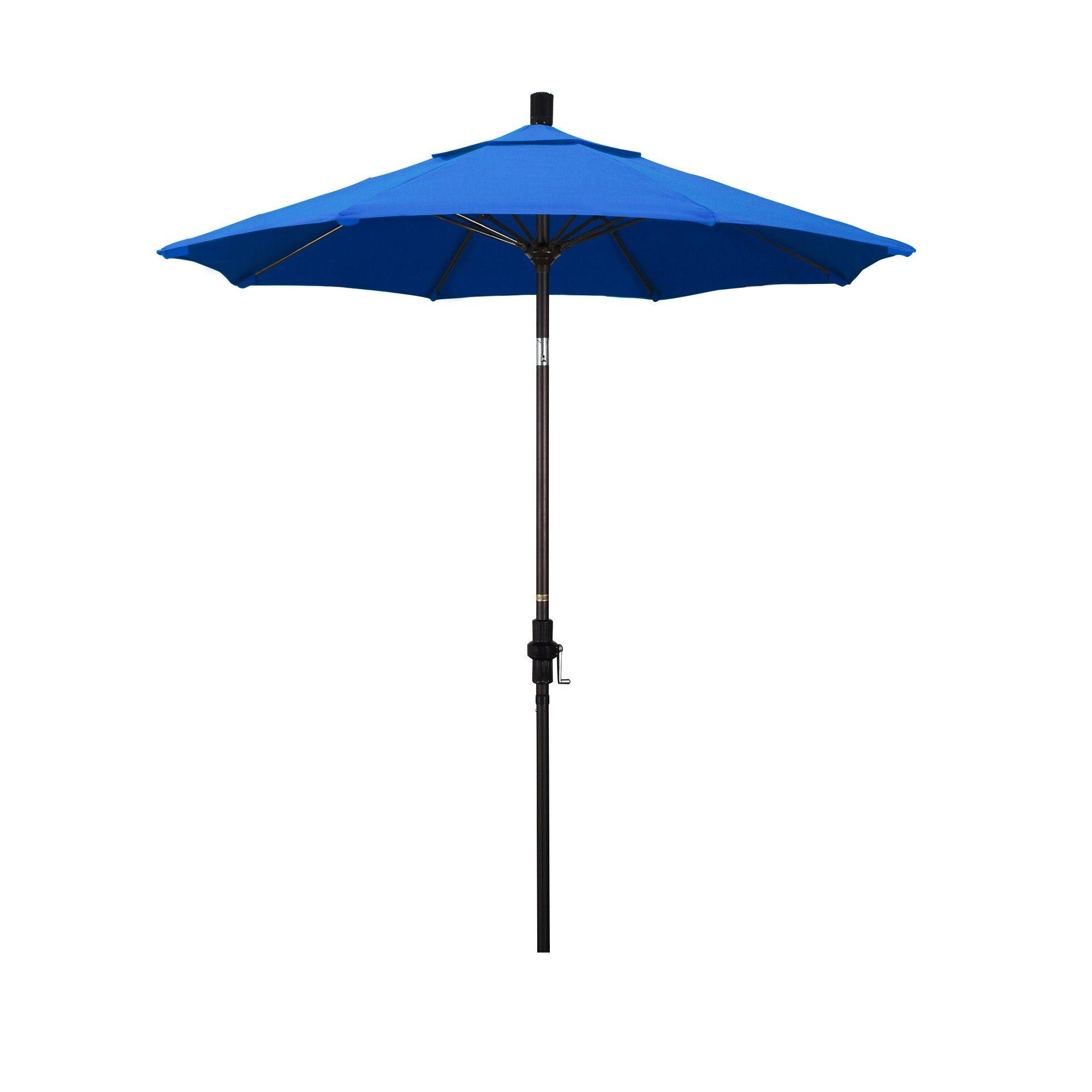 7 5 Aluminum Collar Tilt Crank Patio Umbrella Blue Olefin