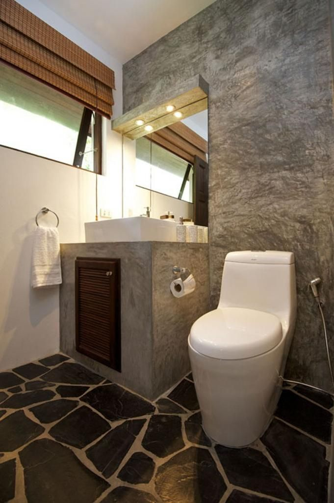 Minimalist tropical home toilet design made from natural stone modern tropical home design with - Home design toilet ...