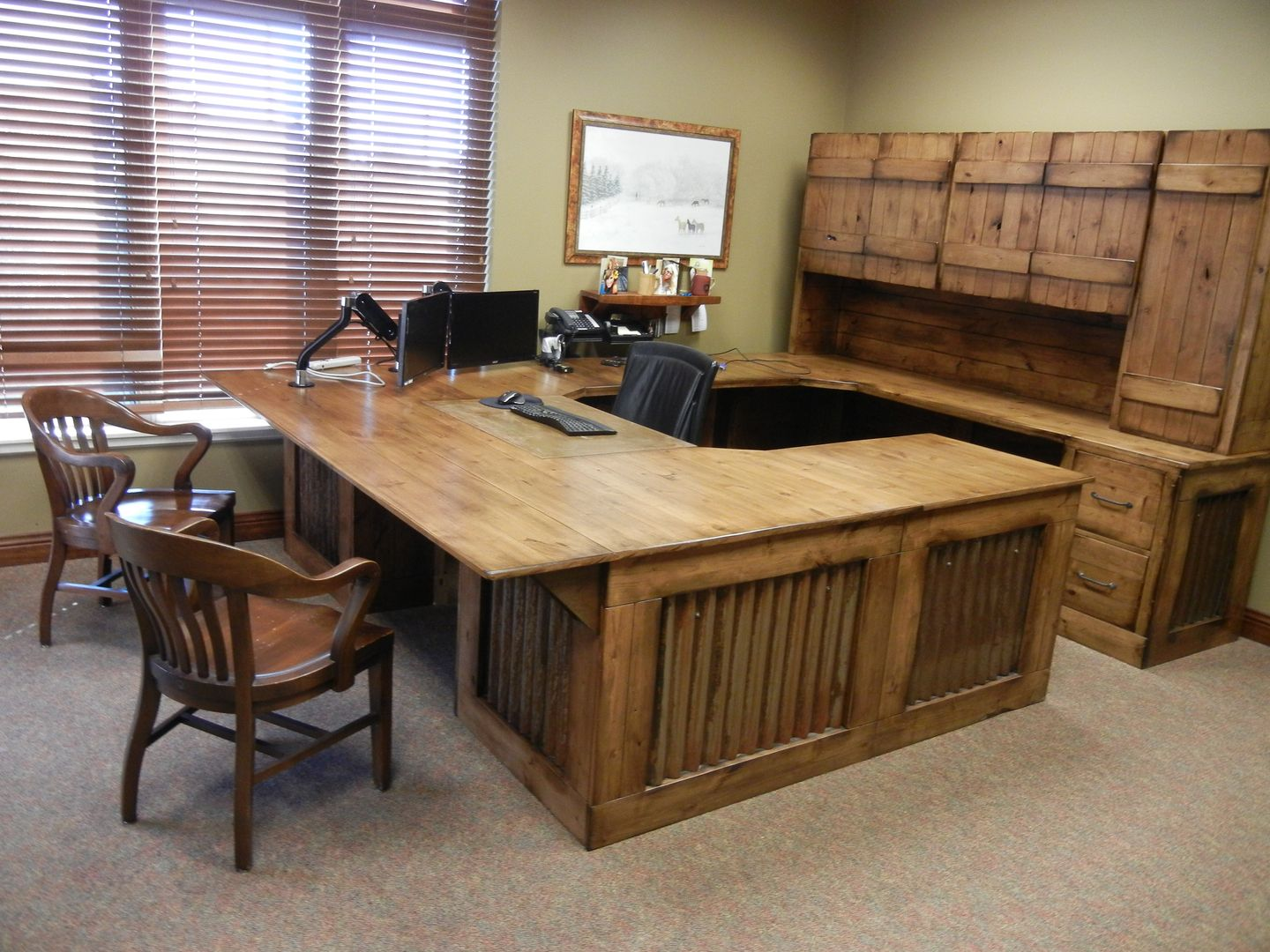 Beautiful Custom Office Desk Made From Rustic Knotty Alder Aged Barn Tin Inserts And Steel Corbels Writing Area Reclaimed Wood Look