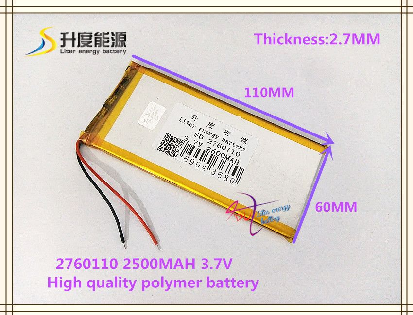 3 7v 2500mah 2760110 Polymer Lithium Ion Li Ion Battery For Tablet Pc Mp4 Cell Phone Speaker Power Bank Cell Phone Speakers Phone Speaker Phone Power Bank