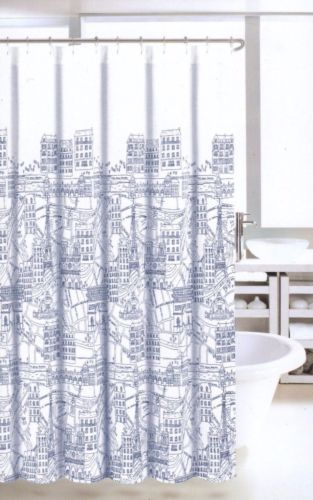 NICOLE MILLER Fabric Shower Curtain La Tour Eiffel Paris City Scene Black White