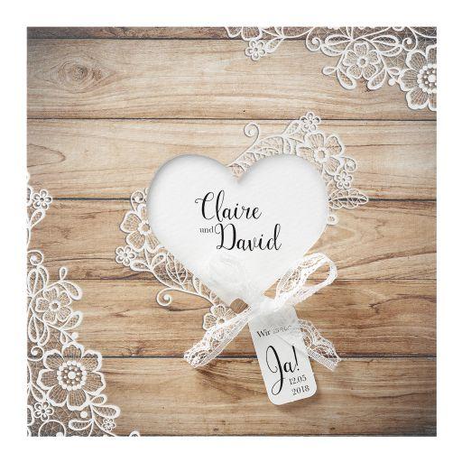 Hochzeitseinladung Lisa In Holzoptik Einladungen