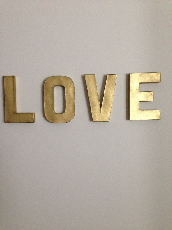 LOVE 8in vintage gold letters wall decor | Kitchen art | Letter