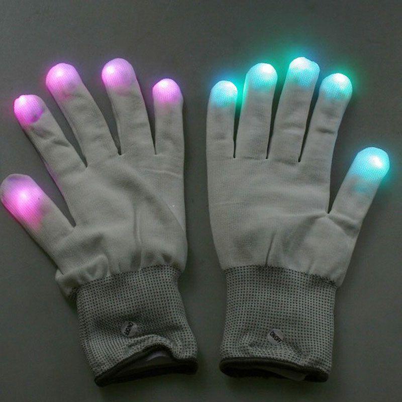 새로운 깜박이는 장갑 글로우 7 모드 LED 레이브 빛 손가락 조명 미트 장난감 손가락 장갑 PTSP