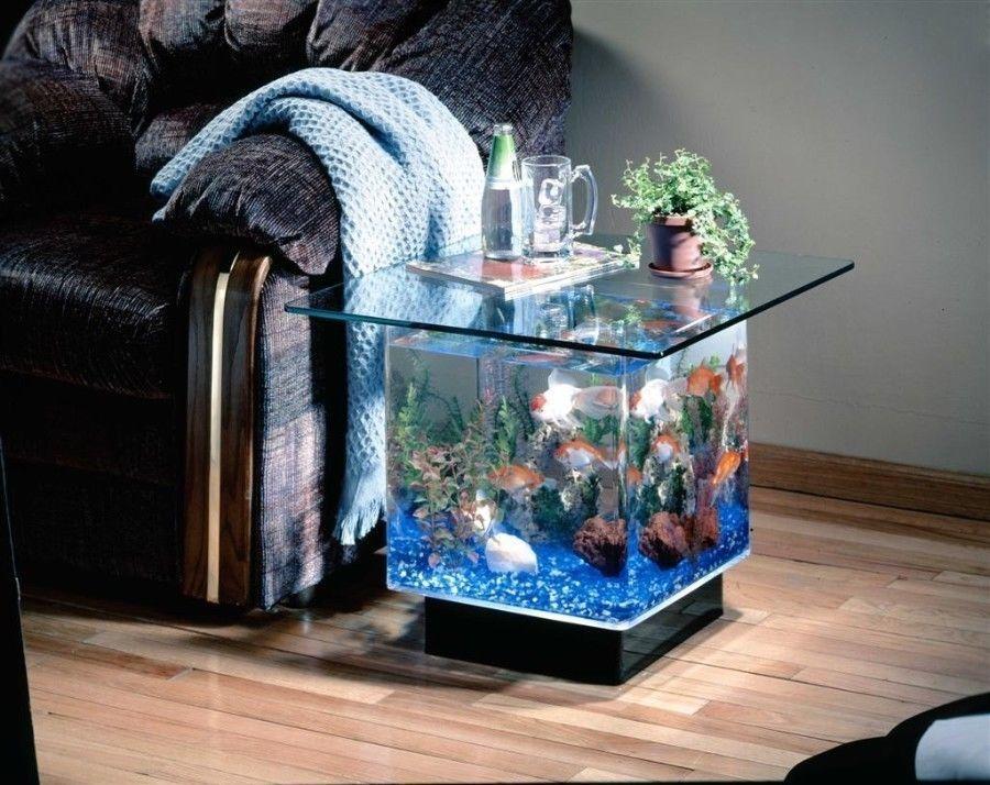 Tropical Small Glass Coffee End Table Aquarium Living Room Fish