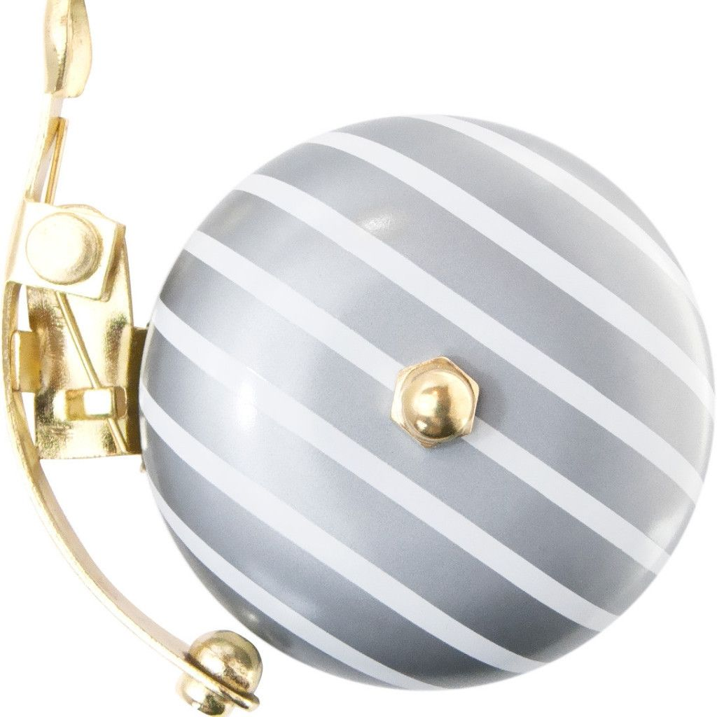 Silver Stripe Bicycle Bell. Designed and made in Japan by brand Fuuvi Charly, these bells make a perfect gift as they come in a lovely box. Easily attached on your handlebar by using a crosshead screwdriver.