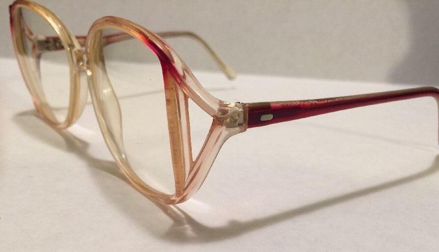 1980s Vtg Large Eyeglasses Frame Red Plastic Mid Century Mod Oversized Butterfly…