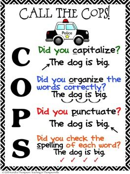 Call the COPS Posters: Writing Complete Sentences | Writing complete ...