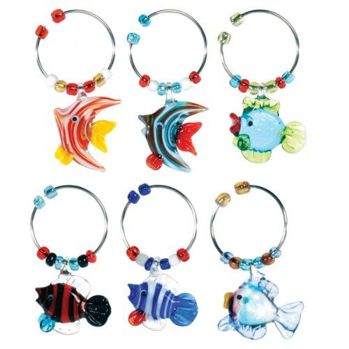 Oenophilia Wine Glass Charms Stem Dangles Set of 6 Flowers of Different Colors