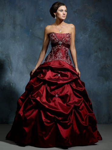 Buy Bright Coloured Burgundy Empire Embroider Beads Working Taffeta Ball Gown Wedding Apparel Online Cheap