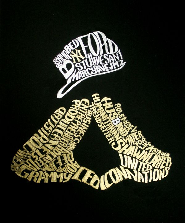 Hov Gold And Silver Leaf Typography Of A Portrait Jay Z 1 3