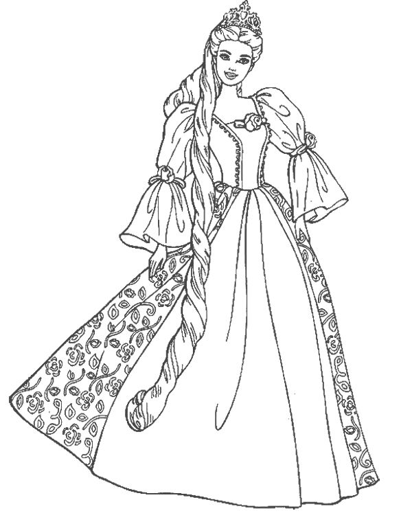 Barbie Doll Princess Coloring Pages | Coloring Pages | Pinterest ...