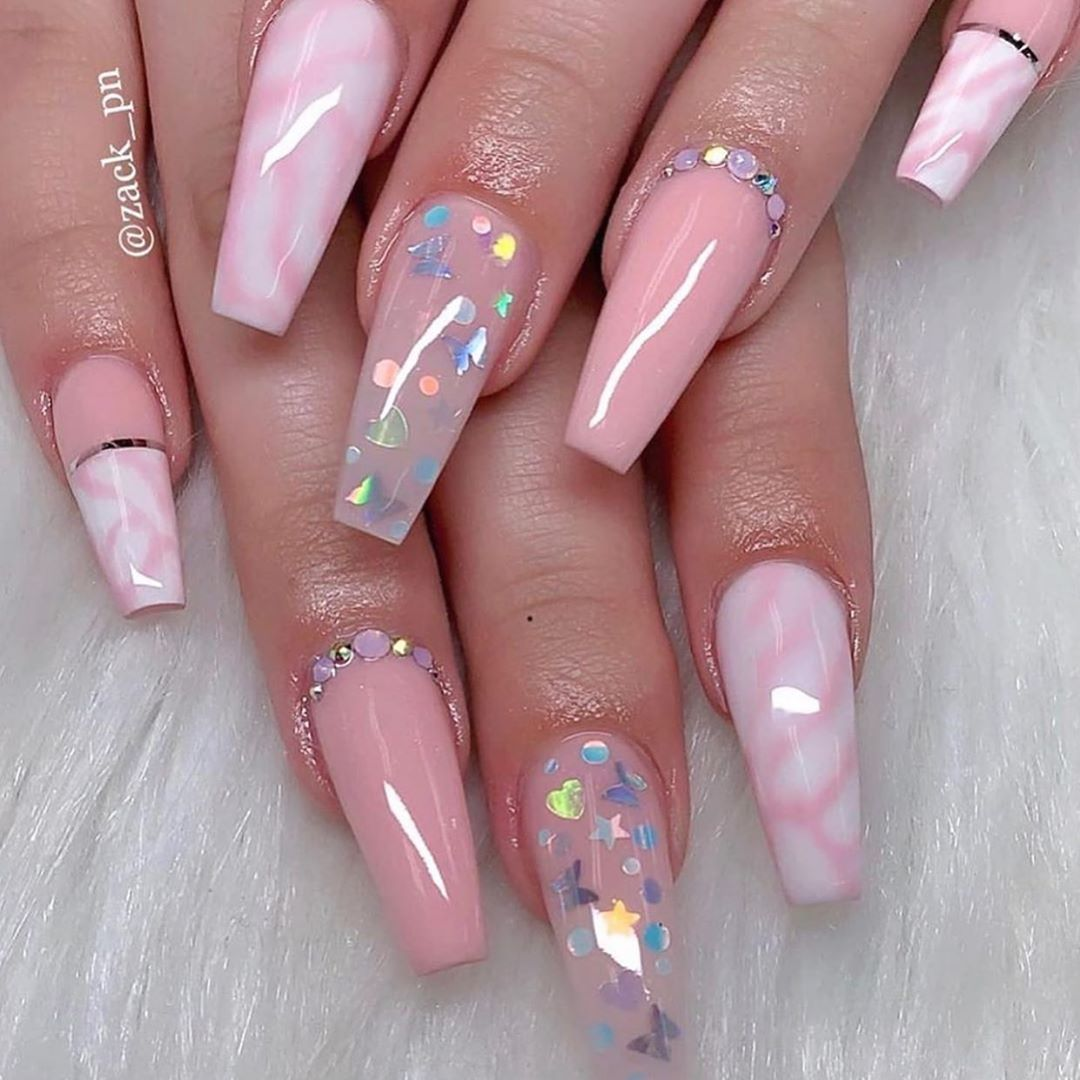 100 Latest Nail Trends For Winter 2020 Nail Art Design Ideas For 2020 In 2020 Coffin Nails Designs Pink Acrylic Nails Nail Designs