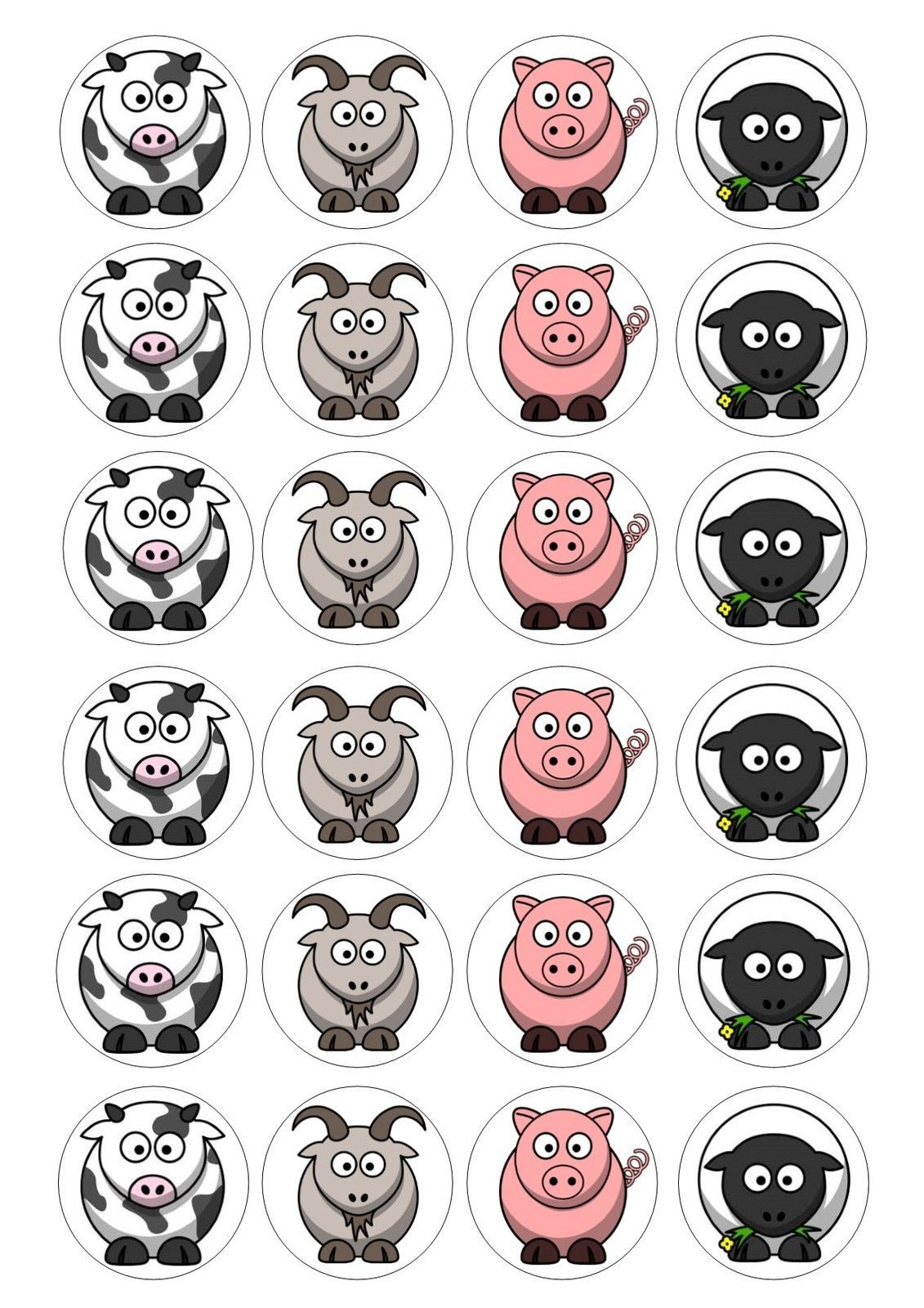 Details About 24 Farm Animal Cupcake Topper Iced Icing Pig