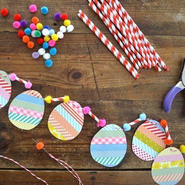 Art Bar washi tape egg garland Easter craft via The Crafty Crow