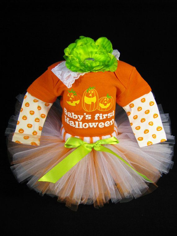 "Babys First Halloween Outfit  "" Baby's First Halloween "" - Girls Tutu Bodysuit and Headband Set - Size 18 Months on Etsy, $38.00"