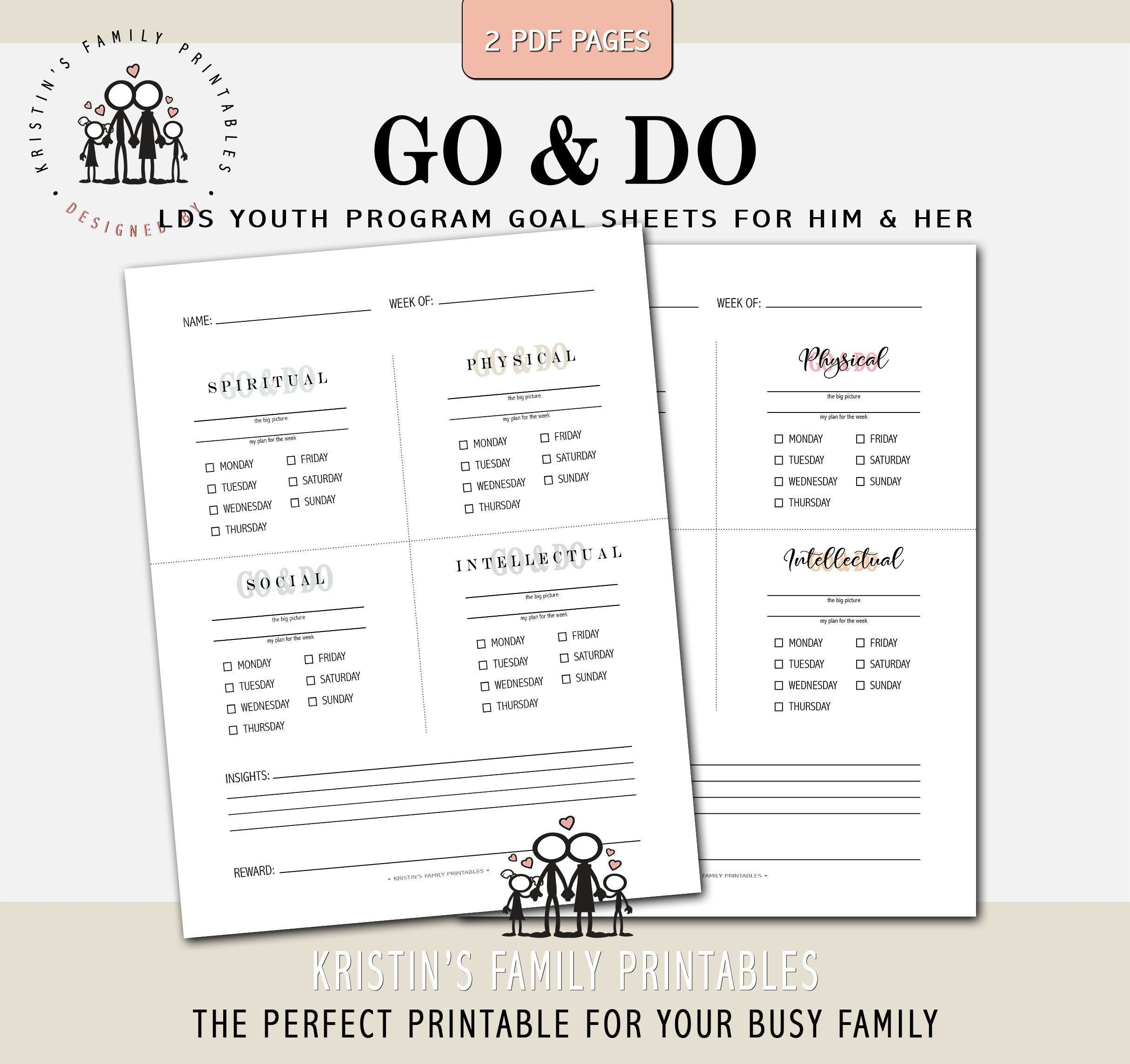 Go Amp Do Goals Sheet For Him And Her 2 Pages